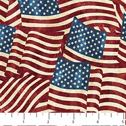 "71"" END OF BOLT REMNANT - American Flags - Stars and Stripes II by Linda Ludovico for Northcott Fabrics"