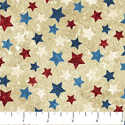 Multi Color Stars on Mottled Cream - Stars and Stripes II by Linda Ludovico for Northcott Fabrics