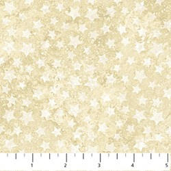 "12"" Remnant - Stonehenge White Stars on Mottled Cream - Stars and Stripes II by Linda Ludovico for Northcott Fabrics"