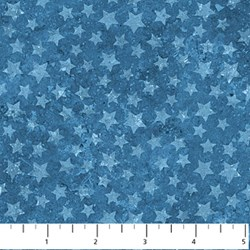 Blue Stars on Mottled Blue - Stars and Stripes II by Linda Ludovico for Northcott Fabrics