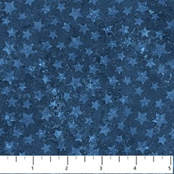 "10"" Remnant - Stonehenge Blue Stars on Mottled Navy - Land of the Free by Linda Ludovico for Northcott Fabrics"