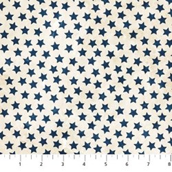 "10"" Remnant - Stonehenge Blue Stars on Mottled White - Stars and Stripes by Linda Ludovico for Northcott Fabrics"