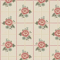 Cream Floral Squares  - Tour des Fleurs by Henry Glass