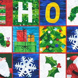 "22"" Remnant - The Very Hungry Caterpillar Christmas - Christmas Squares - By Eric Carle for Andover Fabrics"
