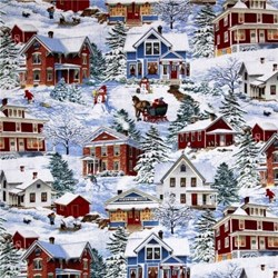 "7""  Remnant Piece - Winter's Eve - Village Scene - by John Sloane for Wilmington Prints"