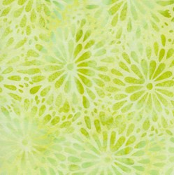 "End of Bolt - 46"" - Island Batik - Round Floral Petal Lemon/Lime be34-g1"