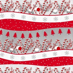 "8"" Remnant  - Frosty Friends 2-Ply Flannel Holiday Stripe by Henry Glass Fabrics"