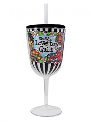 Loves to Quilt Tingle Wine Glass