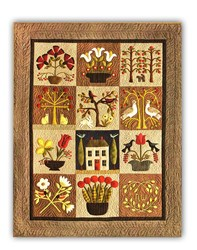 At Home in the Garden Wool Applique on Silk Matka Block of the Month or All at Once