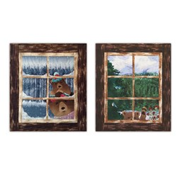 Hello? and Where's The Eggnog? Bear Wall Hangings Laser Cut Companion Set