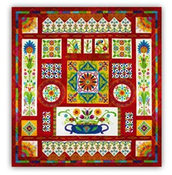 <i>New!</i>  KING Sized Fiesta Mexico Quilt <i>  BATIKS!</i> Spectacular Block of the Month<br><i>Start Anytime!