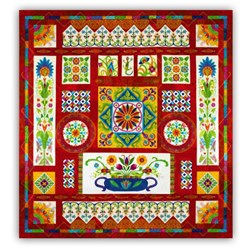 New!  KING Sized Fiesta Mexico Quilt   BATIKS! Spectacular Block of the MonthStart Anytime!