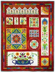 Fiesta Mexico! Reservation Fee<br>100% Wool on Silk Matka Block of the Month<br><i>Starts Anytime!</i>