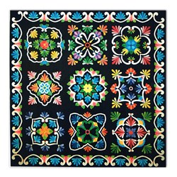 New!  Fiesta de Talavera BATIKS! - Black  Background
