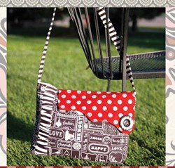 Sassy Flapper Bag in Black with Red Dot