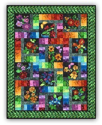 New!  Floragraphix Batik with Green Leaf Border Block of the Month  or All at Once - Starts January 2019!