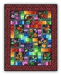 New!  Floragraphix Batik with Red Leaf Border Block of the Month  or All at Once - Starts January 2019!