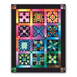 Black Hot Flashes Sampler  Block of the Month Quilt (or All at Once!)