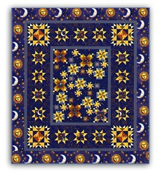 Jewels of the Universe - Midnight Blue- Queen Size Quilt Kit
