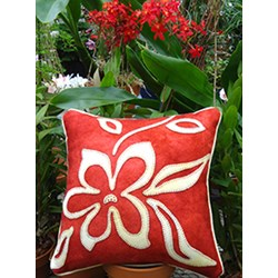Opposites Attract Flower Wool Applique Throw Pillow