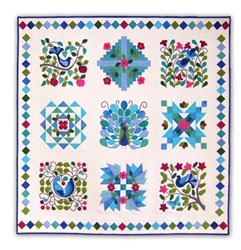 Back in Stock!  Peacock's Garden Cotton Block of the Month or All at Once - Blues<br>Start Anytime!