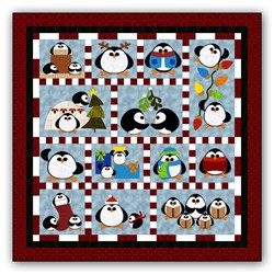 Penguin Cheer Block of the Month or All at Once <br>Available in Batik Applique on Batik<br>Start Anytime!
