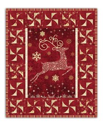 Up Up and Away!  Red Reindeer Quilt Kit with lights and Optional Swarovski Hot Fix Cyrstal Pack