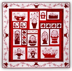 Redwork Baskets in Bloom Block of the Month or All at Once