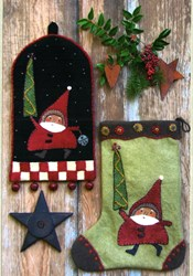 Santa on the Way Stocking & Ringer Pattern<br>Reets Rags to Stitches