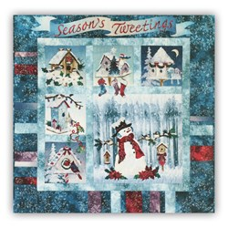 Back in Stock!  Season's Tweeting's Pref-Fused/Laser Cut Wall Hanging Quilt Kit Plus Bonus Embellishment Pack!  Free US Shipping!