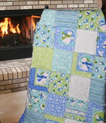 "Exclusive Snow Polar Bears Flannel Snuggler ""Rag"" Quilt"