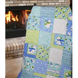"Exclusive Snow Bears Family Flannel Snuggler ""Rag"" Quilt-Includes Backing!"