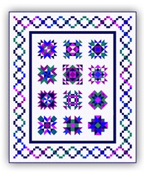 Sparkling Gem Morning Dawn  Block of the Month or All at Once Queen Sized Quilt - Starts May!
