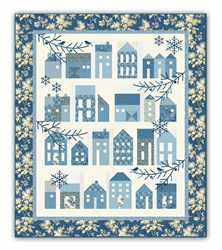 Winter Village  Block of the Month with by Edyta Sitar - Optional Dark Blue Floral Outer Border Layout - Start Anytime!