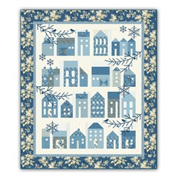 Winter Village  Block of the Month with by Edyta Sitar - Optional Dark Blue Floral Outer Border Layout - Starts August!