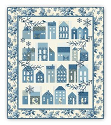 Winter Village  Block of the Month with by Edyta Sitar - Optional Light Blue Floral Outer Border Layout - Starts August!