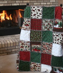 "Exclusive Woodland Retreat Flannel Snuggler ""Rag"" Quilt"