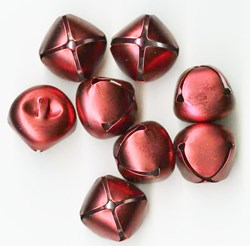 Jingle Bells in a Matted Red - 25mm -- 8 per pack