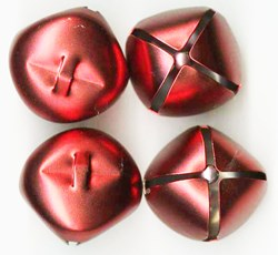 Jingle Bells in a Matted Red - 35mm -- 4 per pack