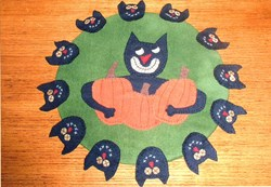 Greedy Cat Penny Rug Wool Pattern