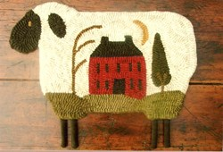 Vintage Find!  House on Sheep - Rug Hooking Pattern <br>Buttermilk Basin