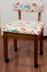 Oak Sewing Chair with Riley Blake White Sewing Notions Fabric