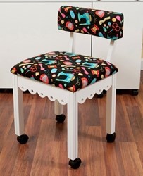 White Gingerbread Sewing Chair with Black Riley Blake Sewing Notions Fabric