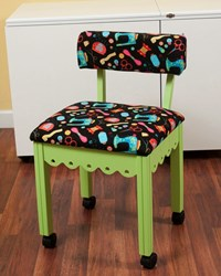 Green Gingerbread Sewing Chair with Black Riley Blake Sewing Notions Fabric