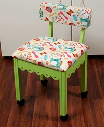 Green Gingerbread Sewing Chair with White Riley Blake Sewing Notions Fabric
