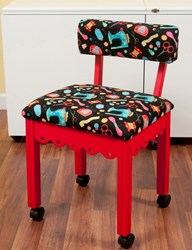 Red Gingerbread Sewing Chair with Black Riley Blake Sewing Notions Fabric