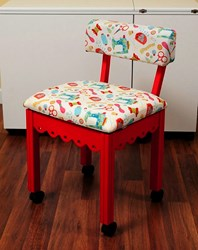 Red Gingerbread Sewing Chair with White Riley Blake Sewing Notions Fabric