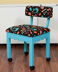 Blue Gingerbread Sewing Chair with Black Riley Blake Sewing Notions Fabric