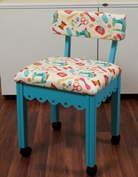 Blue Gingerbread Sewing Chair with White Riley Blake Sewing Notions Fabric