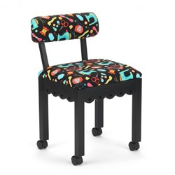 Black Sewing Chair With Black Riley Blake Sewing Notions Fabric